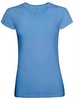 Футболка однотонна жіноча, колір блакитний, кругла горловина