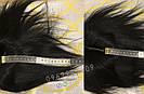 Чёрная накладка из натуральных волос на заколках клипсах, на волосы, фото 2