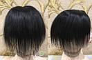 Чёрная накладка из натуральных волос на заколках клипсах, на волосы, фото 5