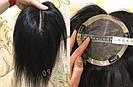 Чёрная накладка из натуральных волос на заколках клипсах, на волосы, фото 3