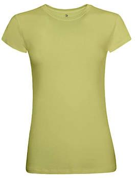 Футболка однотонная женская, цвет салатовый, круглая горловина