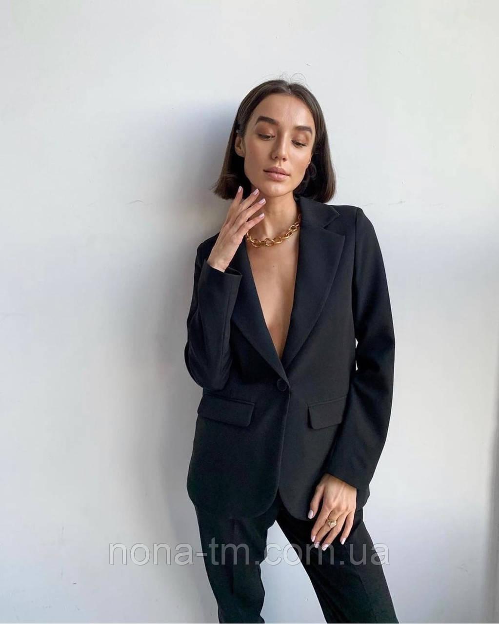 Стильний костюм жіночий брючний з подовженим піджаком