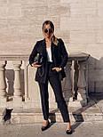 Стильний костюм жіночий брючний з подовженим піджаком, фото 2
