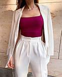 Стильний костюм жіночий брючний з подовженим піджаком, фото 7