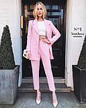 Стильний костюм жіночий брючний з подовженим піджаком, фото 3