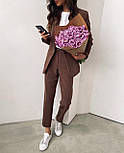 Стильний костюм жіночий брючний з подовженим піджаком, фото 4