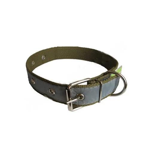 Ошейник брезентовый одинарный светоотражающий 4мм/41-61см для собак 401004 Фауна