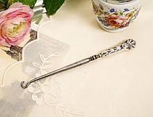 Антикварный крючок для пуговиц, для кодлеров, стальной с серебряной ручкой, Англия, Бирменгем, 1903 год