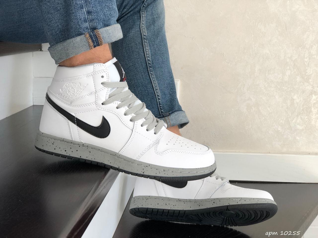 Мужские кроссовки Nike Air Jordan (бело-серые) В10255 демисезонная спортивная высокая обувь