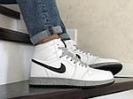 Мужские кроссовки Nike Air Jordan (бело-серые) В10255 демисезонная спортивная высокая обувь, фото 3