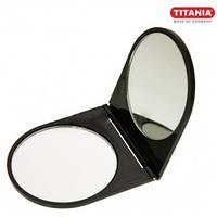 Зеркало косметическое складное карманное с увеличением х2 цветное TITANIA art.1545L