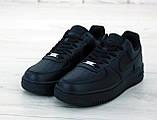 Мужские кожаные кроссовки Nike Air Force (full black) Реплика ААА, фото 4