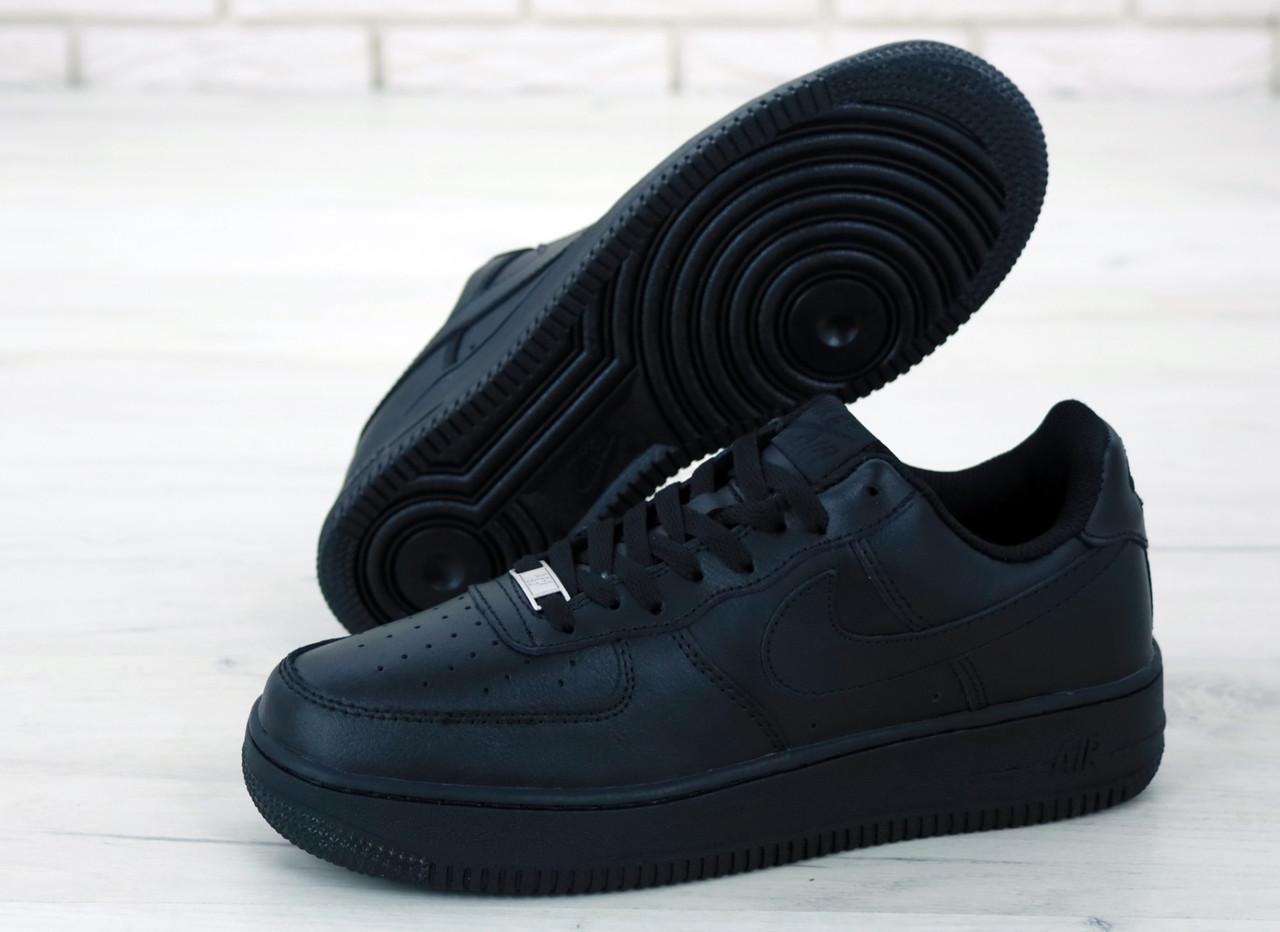 Мужские кожаные кроссовки Nike Air Force (full black) Реплика ААА