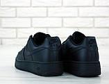 Мужские кожаные кроссовки Nike Air Force (full black) Реплика ААА, фото 3