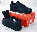 Мужские кожаные кроссовки Nike Air Force (full black) Реплика ААА, фото 6
