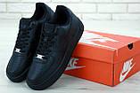 Мужские кожаные кроссовки Nike Air Force (full black) Реплика ААА, фото 5