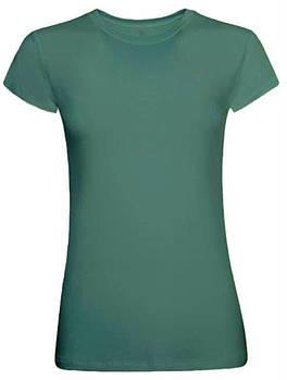 Футболка однотонна жіноча, колір темно зелений, кругла горловина