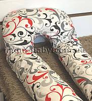 Подушка для беременных U-образная со съемной наволочкой и молнией MamBaby (вензель) белая 150х75 см