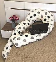 Подушка для беременных U-образная 3 в 1 без съемной наволочкой и молнией MamBaby APPLE на белом 150х75 см