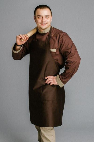 Фартук поварской/официантский с нагрудником, коричневый