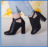 Женские кожаные туфли ботильоны на удобном высоком каблуке черного цвета Fashion Chaya
