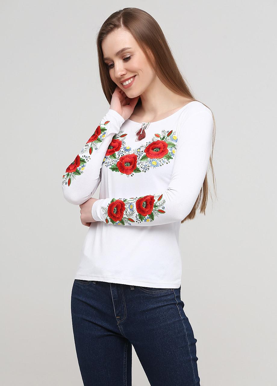 Женская вышитая футболка с длинным рукавом «Маковий цвіт»