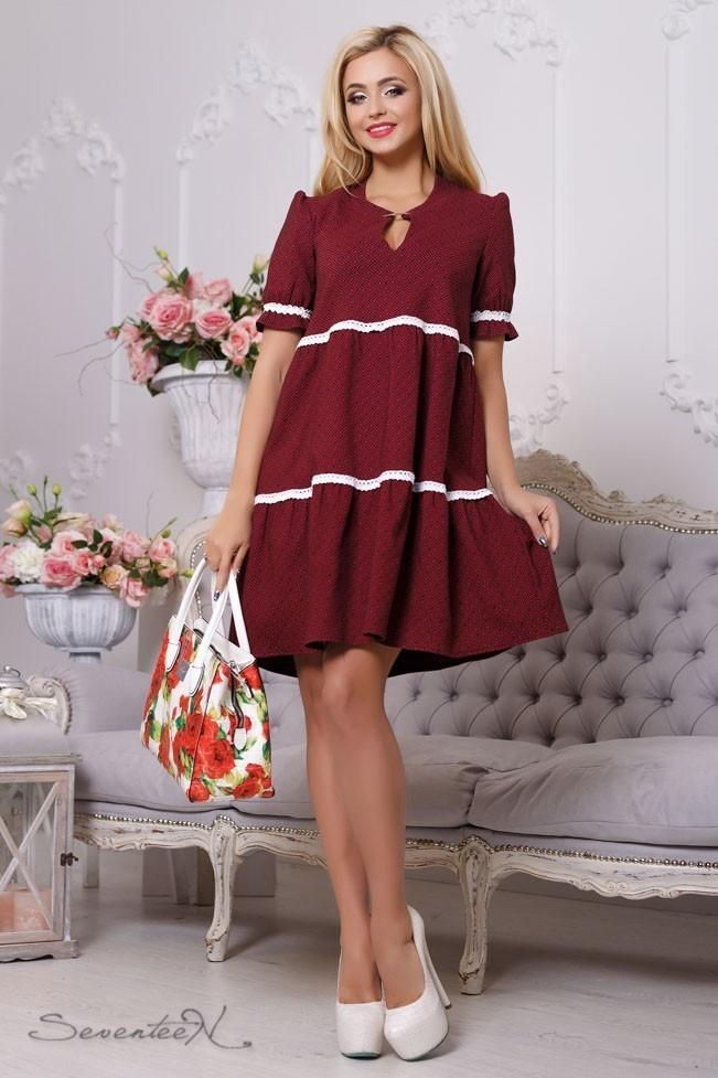 Летнее платье свободного кроя из жаккардового бенгалина с рукавом фонарик цвет марсаловый