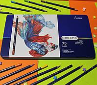 "Карандаши Chroma 72 цвета №8010-72TN  ""MARCO"" в металлическом пенале, шестигранный корпус, фото 1"