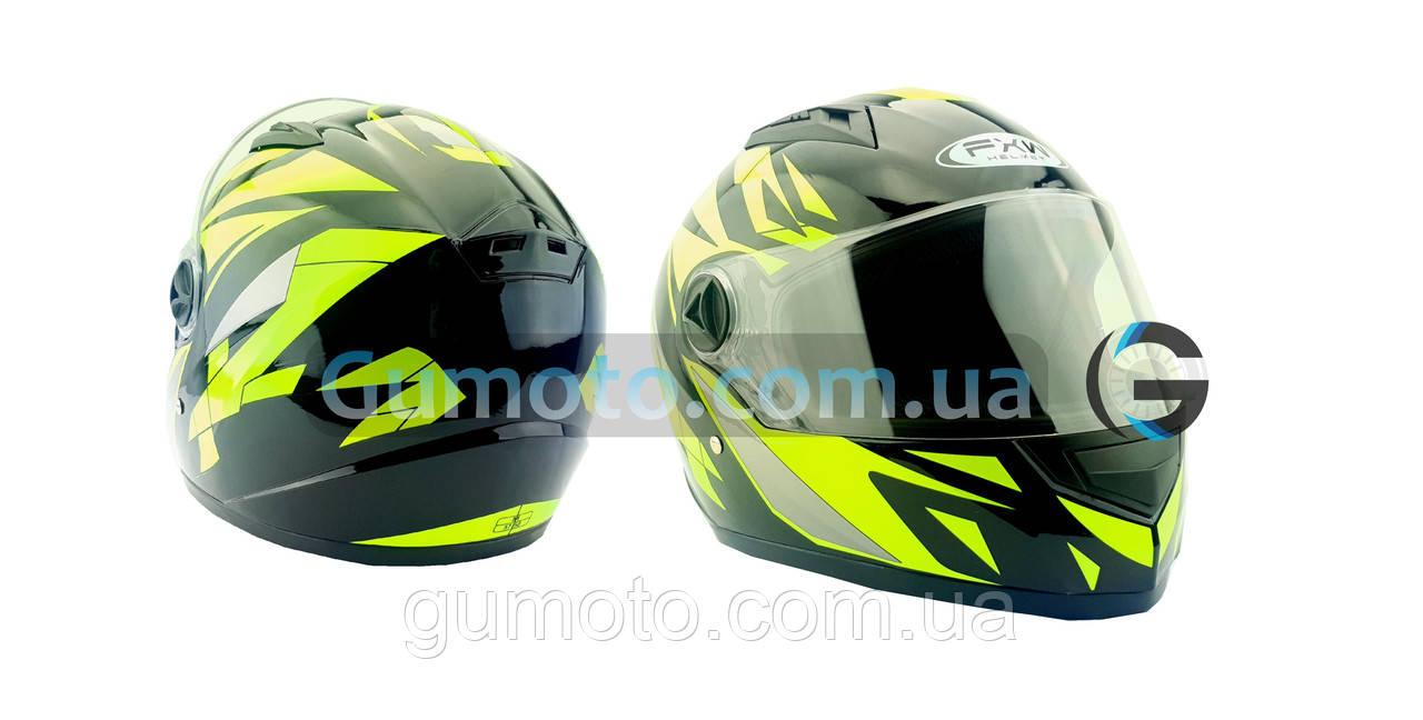 Шолом для мотоцикла Hel-Met 111 чорний з зеленим S/M