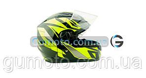 Шолом для мотоцикла Hel-Met 111 чорний з зеленим S/M, фото 2