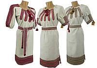 Женское вышитое платье с тканой нашивкой в украинском стиле