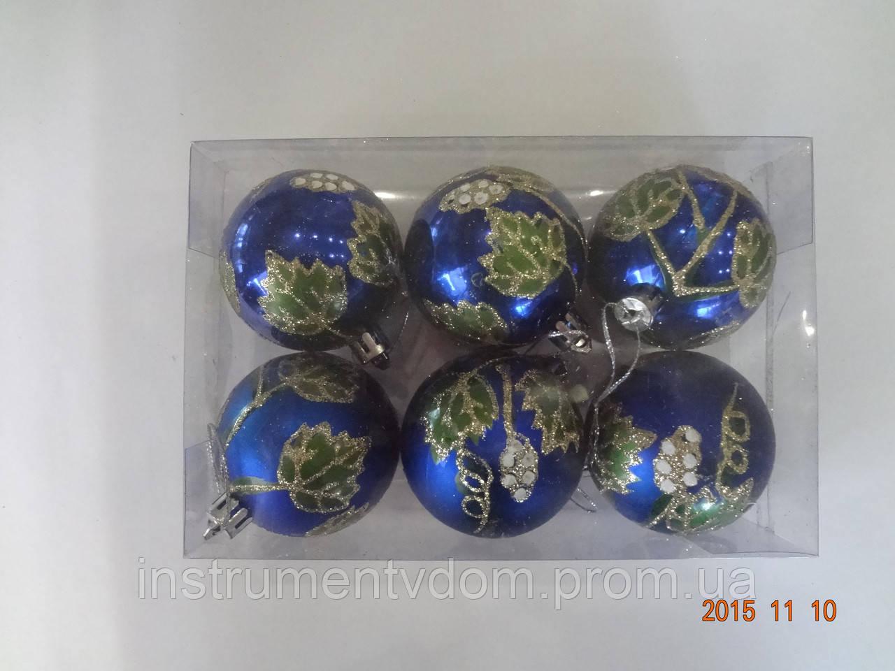"""Игрушка елочная """"Шар Виноград"""" (диаметр 6 см, упаковка 6 шт, цвета в ассортименте)"""