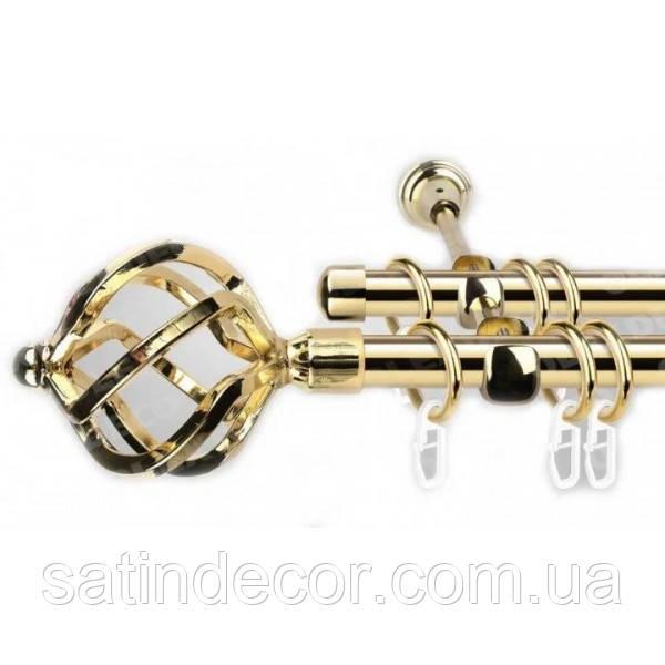 Карниз для штор металевий АЖУР подвійний 16+16 мм 2.4 м Золото