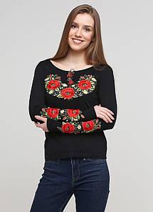 Женская вышитая футболка с длинным рукавом «Маковий цвіт» черная