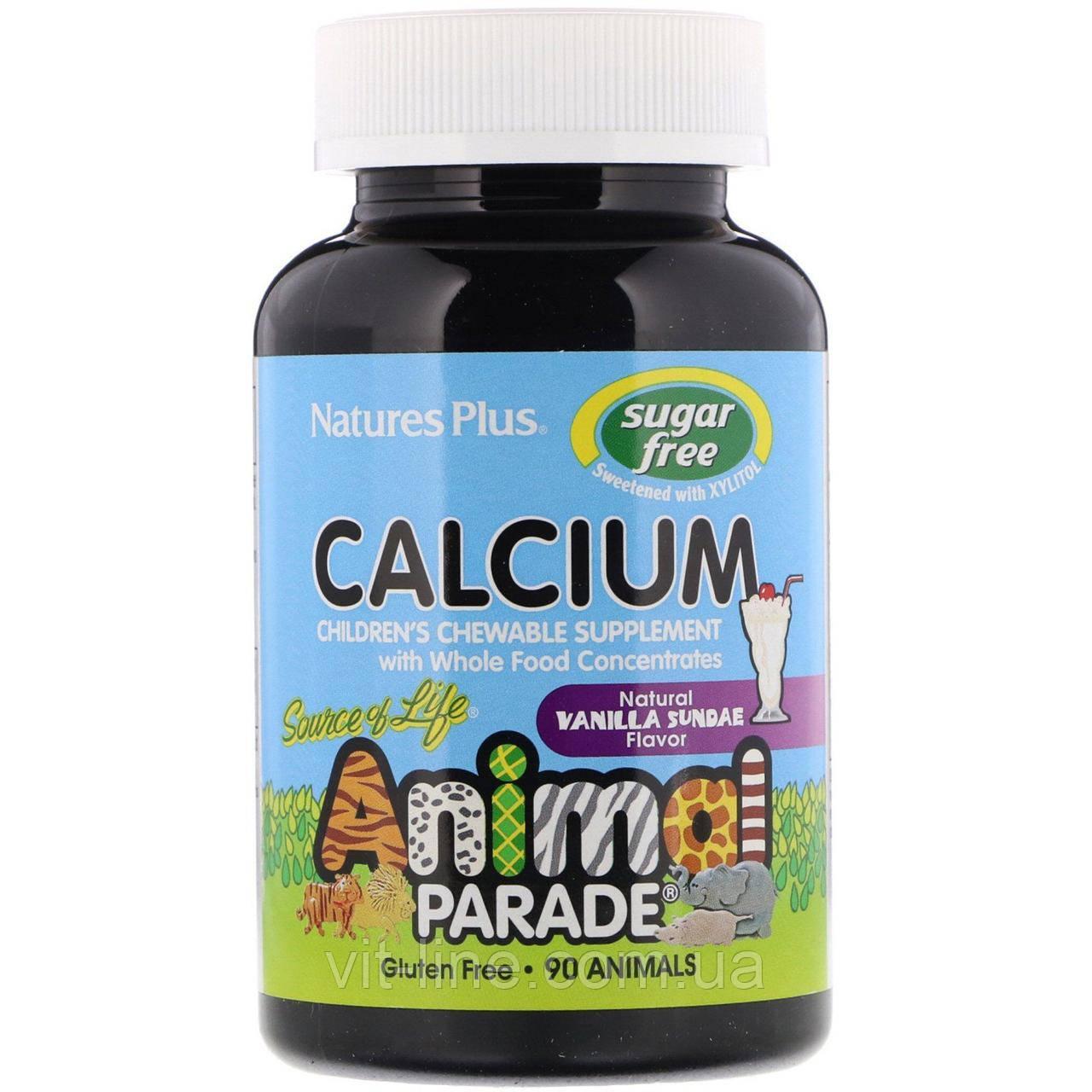 Nature's Plus, кальцій без цукру, смак натурального ванільного морозива, 90