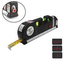 Лазерный уровень нивелир 2 линии 5 точек Fixit Laser Level Pro 3, рулетка