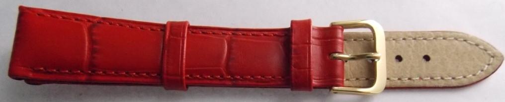 Ремешок кожаный BROS (ИТАЛИЯ) красный 18 мм