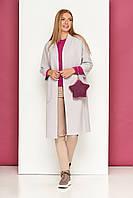Трикотажный женский кардиган без воротника, накладные карманы, силуэт прямой (Светло-серый / Бежевый / Серый)
