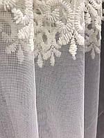 Тюль фатиновый кремовый с белой вышивкой на метраж, высота 2,8 м, фото 5
