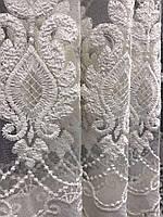 Тюль фатиновый кремовый с белой вышивкой на метраж, высота 2,8 м, фото 4
