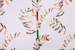 """Поплін шириною 240 см """"Велике листя акації"""" коричневе на білому (№3310), фото 6"""