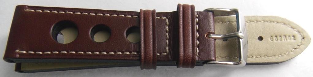 Ремешок кожа BROS-LUX (Италия) коричневый, большие дырки 20 мм.