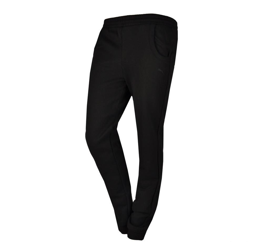 Брюки спортивные женские Puma Ess Fl Cl 831819 01 (черные, хлопок, зауженные, с манжетами, логотип пума)