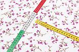 """Поплин шириной 240 см """"Мелкие лиловые колокольчики"""" на белом фоне (№3316), фото 2"""