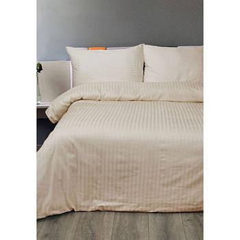 Постельное белье Lotus Отель - Сатин Страйп бежевый 1*1 евро (Турция)