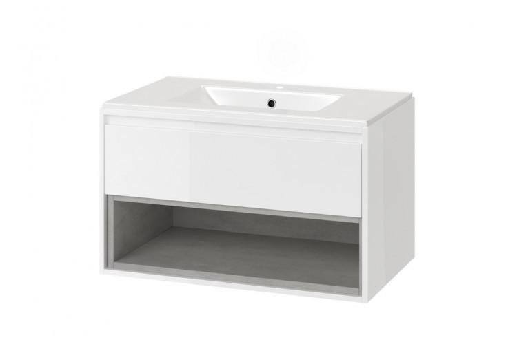 Шкафчик с раковиной 80 см белый / дуб TUTO (MLCE.0101.3617.800.WHBL)