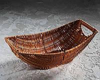 """Плетена корзина для фруктів """"Човен"""" 38х24х10 см"""