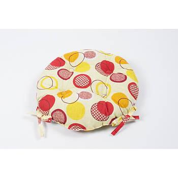 Подушка на стул Lotus круглая Ø 40 - Erin с завязками желтый