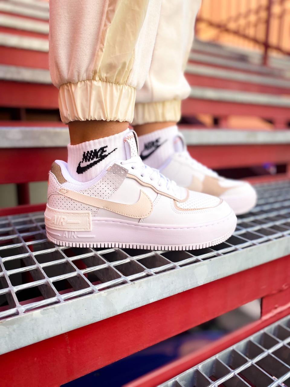 Женские белые Кроссовки Nike Air Force Shadow