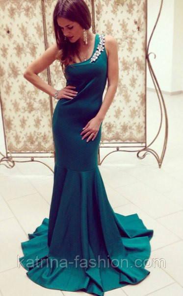 Платье в пол цвета изумруд